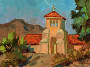 Verbena Paintings - A Warm Day at Borrego Springs Lutheran by Diane McClary