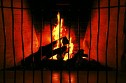 Firepit Posters - A Warm Fireplace Poster by Thomas Woolworth