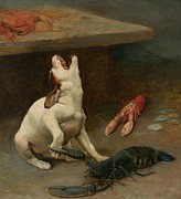 Puppies Paintings - A Warm Response by William Strutt