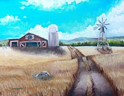 Old Fence Posts Painting Prints - A Warm Welcome Print by Shana Rowe