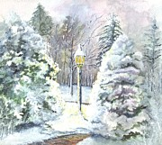 Snow Scene Drawings Prints - A Warm Winter Welcome Print by Carol Wisniewski
