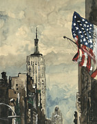 Flagpole Paintings - A watercolor sketch of New York by George Siedler