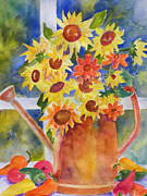 Daiseys Framed Prints - A Watering Can with Marguerites Framed Print by Gloria Johnson