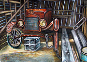Ford Model T Car Painting Posters - A well-earned rest Poster by Amber Nissen