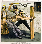 Beaters Prints - A WHIPPING POST for WIFE BEATERS   1883 Print by Daniel Hagerman