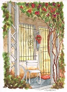 Post Cards Painting Originals - A white chair in Plummer Park - West Hollywood - California by Carlos G Groppa