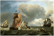 Sailing Ships Posters - A Wijdschip a Smalschip and a States Yatht Tacking Poster by Ludolf Backhuysen