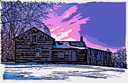 Log Cabin Digital Art Prints - A Winter Dream 2 Print by Steve Harrington