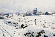 Snow-covered Landscape Metal Prints - A Winter Landscape Holmstrup Metal Print by Peder Monsted