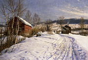 Mid Adult Framed Prints - A Winter Landscape Lillehammer Framed Print by Peder Monsted