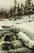 Snow-covered Landscape Painting Posters - A Winter Landscape with a Mountain Torrent Poster by Peder Monsted