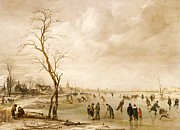 Winter Sports Painting Prints - A Winter Landscape with Townsfolk Skating and Playing Kolf on a Frozen River Print by Aert van der Neer