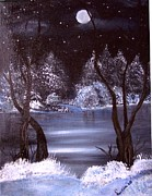 Snow Scene Painting Originals - A Winter Night by Lucia Grilletto