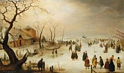 Skaters Framed Prints - A Winter River Landscape with Figures on the Ice Framed Print by Hendrik Avercamp