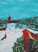 Sled.fence Prints - A Winter Scene Print by Martin Blakeley