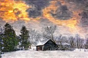 Barn Digital Art - A Winter Sky paint version by Steve Harrington