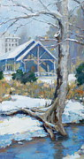 Edwin Warner Park Painting Prints - A Winter Walk in the Park Print by Sandra Harris