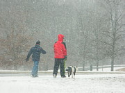 Snowstorm Prints Prints - A Winter Walk In The Park - Silver Spring MD Print by Emmy Marie Vickers
