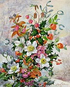 Christmas Flower Paintings - A Winter Wonderland by Albert Williams