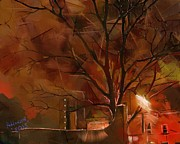 Brick Buildings Art - A Winters Night by Arne Hansen