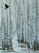 Snowy Landscape Mixed Media Posters - A Winters Tale Poster by Constance Widen