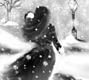 Skating Digital Art - A Winters Walk by Lori  Lovetere