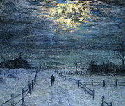 Snow-covered Landscape Metal Prints - A Wintry Walk Metal Print by Lowell Birge Harrison