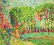 Bold Color Prints - A Woman in a Birch Wood Print by Ernst Ludwig Kirchner