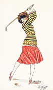 Golfer Paintings - A woman in full swing playing golf by French School