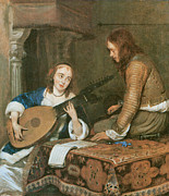 Woman Playing A Lute Prints - A Woman playing the Theorbo-Lute and a Cavalier Print by Gerard Terborch