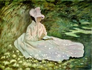 Monet Pastels Prints - A Woman Reading Print by Wade Starr