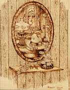Oil Lamp Pyrography Prints - A Womans Touch Print by Robert Jerore