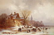 Frozen Lake Posters - A wooded landscape with numerous figures Poster by Anton Doll