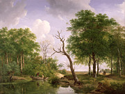 Buddies Paintings - A wooded river landscape with sportsmen in a rowing boat by Andreas Schelfhout