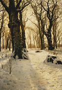 Snow Scene Paintings - A Wooded Winter Landscape with Deer by Peder Monsted