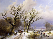 Figures Painting Framed Prints - A Wooded Winter Landscape with Figures Framed Print by Verboeckhoven and Klombeck