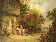 A Woodside Inn, 1841 Print by William Snr. Shayer