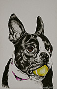 Collar Mixed Media Prints - A Yellow Ball Print by Susan Herber