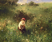 Green Field Framed Prints - A Young Girl in a Field Framed Print by Ludwig Knaus