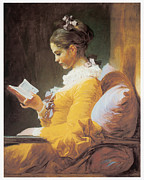 Honore Framed Prints - A Young Girl Reading Framed Print by Jean-Honore Fragonard