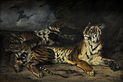 Delacroix Prints - A Young Tiger Playing with its Mother Print by Eugene Delacroix