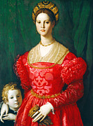 Gown Paintings - A Young Woman and Her Little Boy by Bronzino