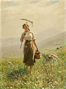 Famous Artists - A young woman in the meadow by Hans Dahl