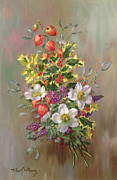 Holly Berry Still Life Prints - A Yuletide Posy Print by Albert Williams