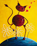 Yellow Fairy Painting Originals - A Zebra Kind Of Love by Shawna Erback by Shawna Erback