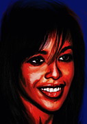 Actress Mixed Media Metal Prints - Aaliyah  Metal Print by Andrzej  Szczerski