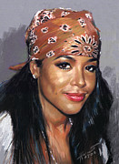 Actress Drawings Framed Prints - Aaliyah Framed Print by Viola El