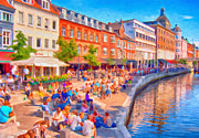 Crowds  Prints - Aarhus Canal Digital Painting Print by Antony McAulay