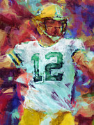 Pro Football Digital Art Prints - Aaron Rodgers Abstract Print by David G Paul
