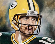 Football Paintings - Aaron Rodgers by Angela  Villegas